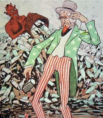 Cartoon showing Uncle Sam exhausted by the flow of bootleg produced by the devil, during the Prohibition era
