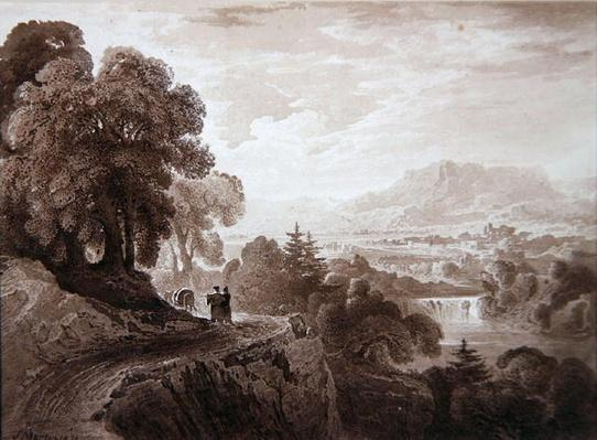 Travellers on a road above a river, 1821