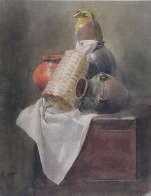 Still Life: Pots, Basket and Cloth on a Chest