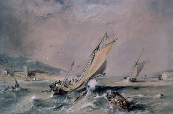 Coast Scene: Boats at the Entrance to a Harbour