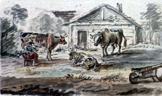 Cattle standing before a Cottage