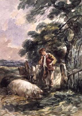 Landscape Sketch, with a boy and two pigs