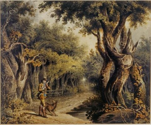 Forest Scene with Woodman and Dog