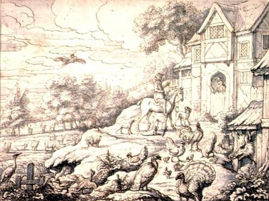 Farmyard, with Figures and Landscape Background