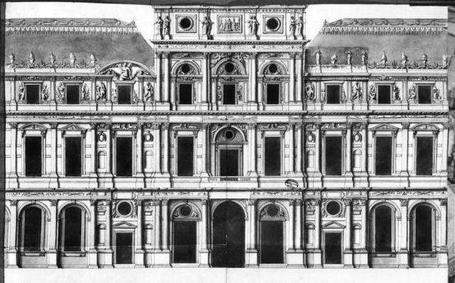 The Louvre: Elevation of the Pavilion in the Middle of the River, c.1660-63