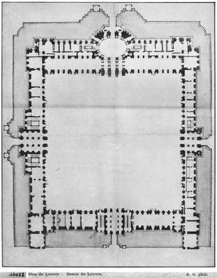 Design for the eastern buildings of the Louvre, from 'Recueil du Louvre', volume 1, fol.5