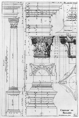Section and elevation of a composite column designed by Andrea Palladio