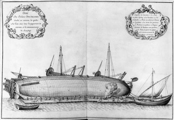 Outside of a vessel lying on its hull, illustration from the 'Atlas de Colbert', plate 41