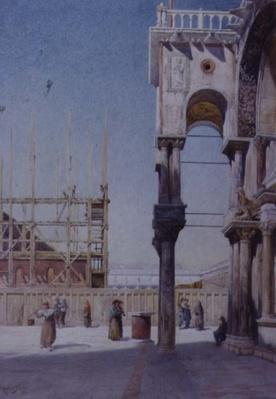 View from the Portico of St. Mark's Venice, Showing the Rebuilding of the Campanile, 1908