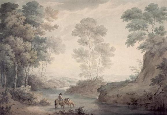 Landscape with River and Horses Watering