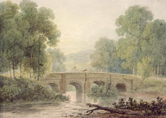 Woody Landscape with a Stone Bridge over a River