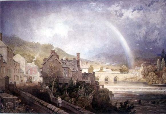 Village and Bridge of Llangollen, North Wales, with Rainbow Effect