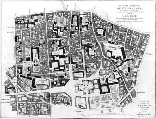Map of Sainte-Genevieve area, Paris, 1756