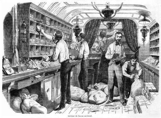 Interior of a French railway postal wagon, illustration from 'Tableaux de Paris' by Edmond Texier, published 1853