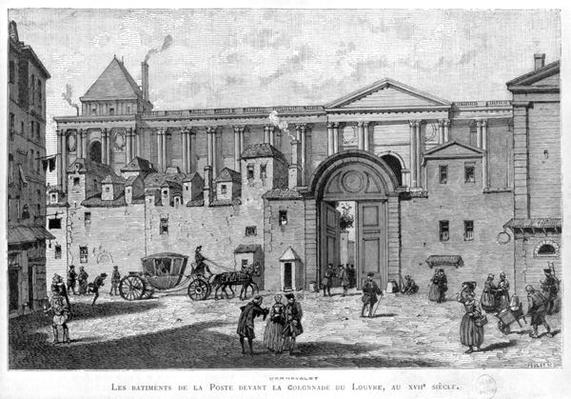 The Paris Post Office in front of the colonnade of the Louvre in the 17th century