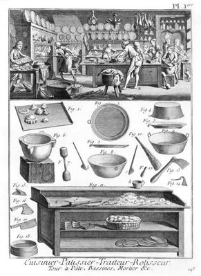 Cook, Pastrycook, Caterer, Seller of roast meat, illustration from the 'Encyclopedia' by Denis Diderot, 1751-72