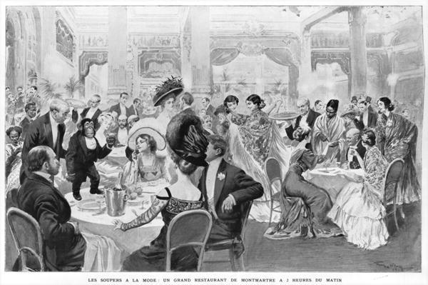 Fashionable suppers, a good restaurant of Montmartre at two o'clock in the morning, 1908