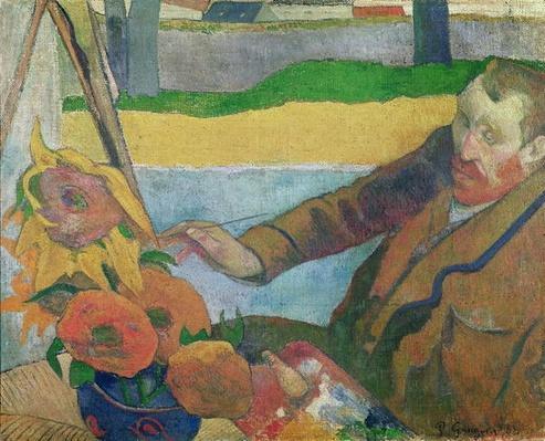 Van Gogh painting Sunflowers, 1888