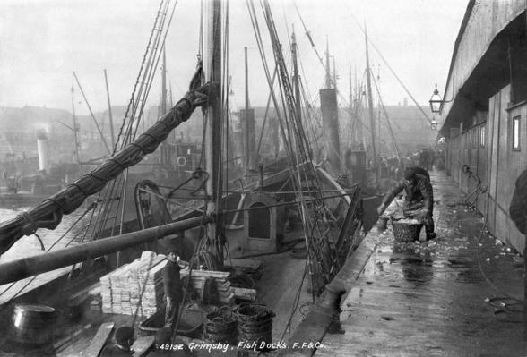 Fish docks, Grimsby, early 20th century