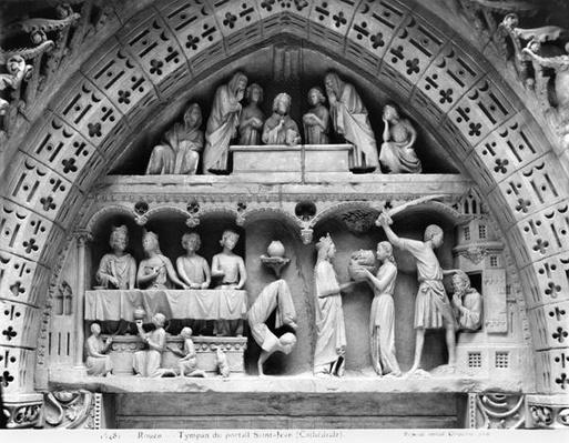 Rouen cathedral, reproduction of the tympanum from the facade portal of St. John the Baptist