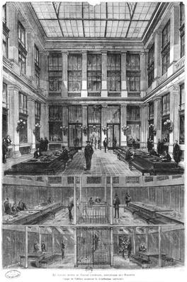 Interior and cross-section of the new Credit Lyonnais Hotel, 19 Boulevard des Italiens, Paris, c.1878-82