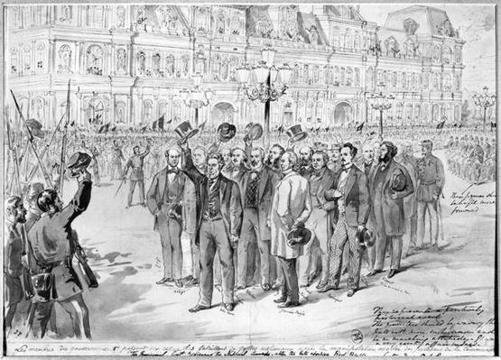 Members of the provisional government reviewing the National Guards outside the Hotel de Ville in Paris on the 31st October 1870, c.1870