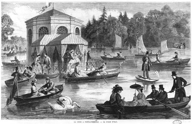 View of the pond of the Court at Fontainebleau, engraved by Charles Maurand
