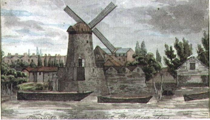 A View of the Windmill at Nine Elms, Lambeth, from Millbank