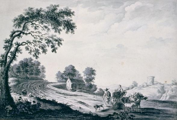 Italian Landscape with Peasants and Animals on a Road