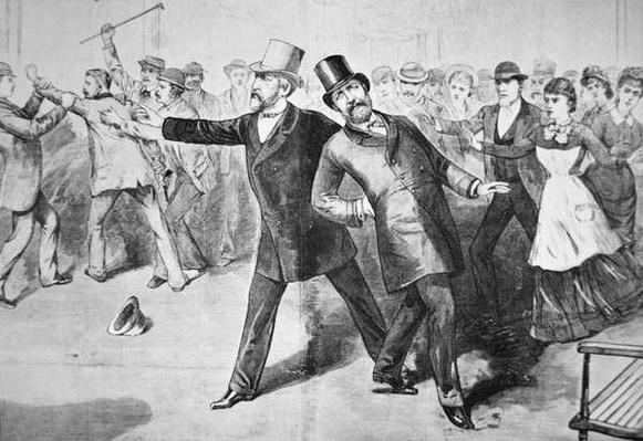 The Assassination of President James Abram Garfield (1831-81) by Charles J. Guiteau (1841-82) 1881 (litho) by American School, (19th century)