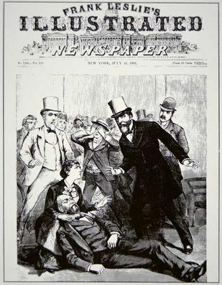 The Assassination of President James Abram Garfield (1831-81) by Charles J. Guiteau (1841-82), published in Frank Leslie's Illustrated Newspaper, 1881 (litho) by American School, (19th century)