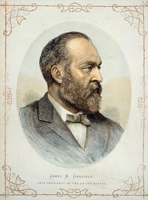 James A. Garfield (1831-81), late President of the United States (colour litho) by American School, (19th century)