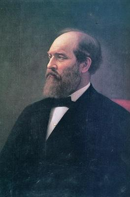 James A. Garfield (1831-81) (oil on canvas) by Curtis, Calvin (1822-93)