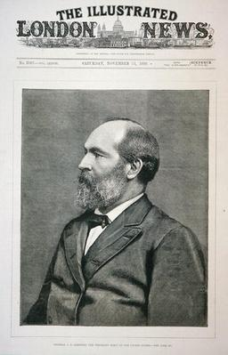 James A. Garfield (1831-81) on the front cover of the Illustrated London News, 13th November, 1880 (litho) by American School, (19th century)