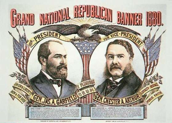 Campaign poster for presidential candidate James A. Garfield (1831-81) and running mate, Chester A. Arthur (1829-86) 1880 (colour litho) by American School, (19th century)