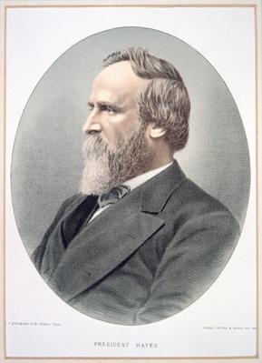 Rutherford B. Hayes (1822-93) (colour litho) by American School, (19th century)