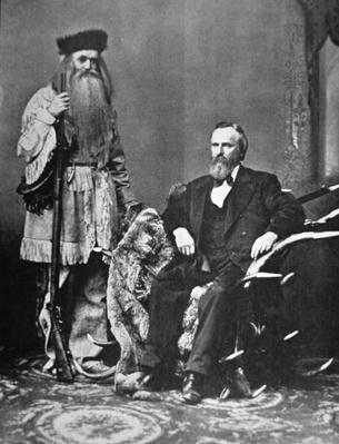 Rutherford B. Hayes (1822-93) and frontiersman Seth Kinsman (photo) by American Photographer, (19th century)
