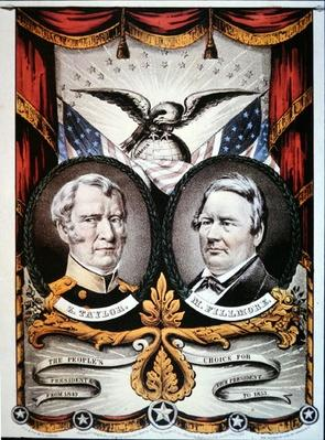Campaign poster for presidential candidate Zachary Taylor (1784-1850) and running mate, Millard Fillmore (1800-74) 1848 (colour litho) by American School, (19th century)