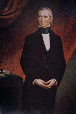 James Knox Polk (1795-1849) (colour litho) by Healy, George Peter Alexander (1808-94) (after)