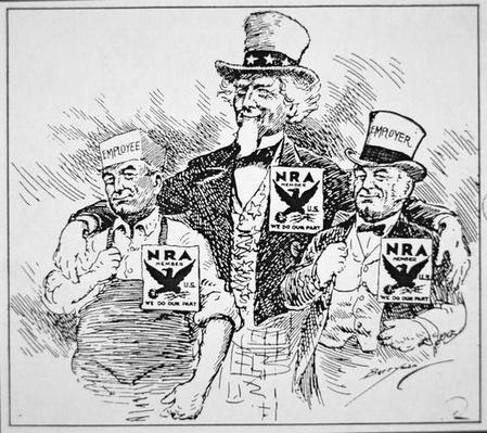 Cartoon depicting the impact of Franklin D. Roosevelt's (1882-1945) 'New Deal', 1933 (print) by American School, (20th century)