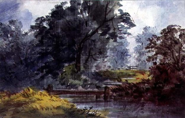 Landscape, with stream and tree