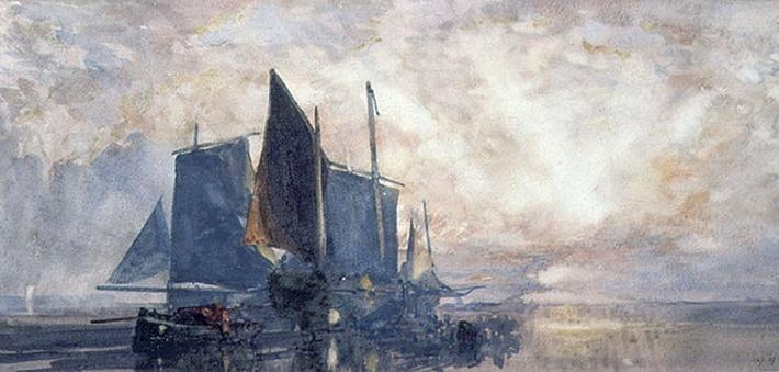 Fishing Boats at Anchor: Sunset, 19th century