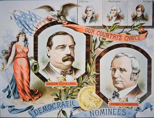 Campaign poster for presidential candidate Grover Cleveland and running mate, Thomas A. Hendricks (1819-85), 1884 (colour litho) by American School, (19th century)