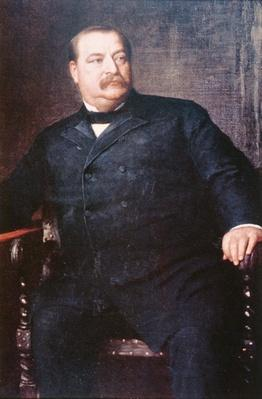 Grover Cleveland (1837-1908) (colour litho) by Johnson, Eastman (1824-1906) (after)
