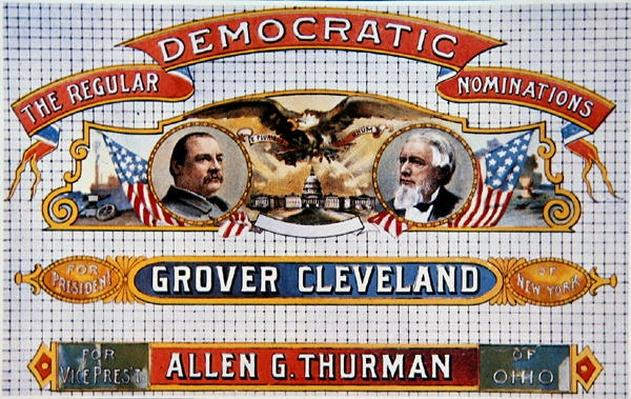 Campaign poster for presidential candidate Grover Cleveland and running mate, Allen G. Thurman (1813-95), 1888 (colour litho) by American School, (19th century)