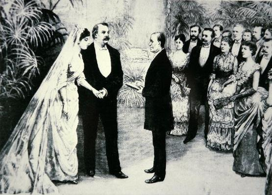 President Grover Cleveland marries Frances Folsom (1864-1947) in the White House, 2nd June 1886 (litho) by American School, (19th century)