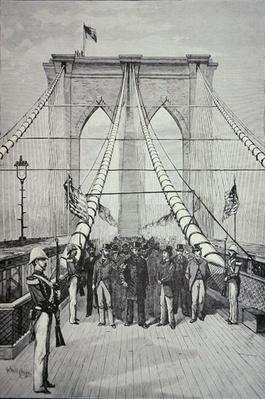President Chester A. Arthur at the opening ceremony of the new Brooklyn Bridge, 24th May 1883 (litho) by American School, (19th century)