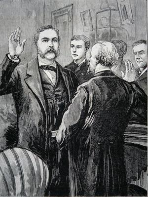 President Chester A. Arthur taking the oath of office after the death of James Garfield on the 20th September 1881 (litho) by American School, (19th century)