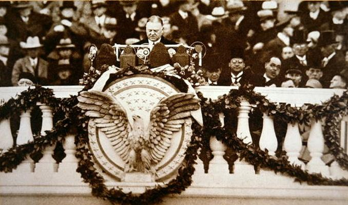 Herbert C. Hoover (1874-1964) giving his inaugural speech as 31st President of the United States, 1929 (b/w photo) by American Photographer, (20th century)