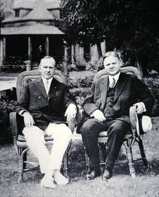 President Calvin Coolidge (1873-1933) with Secretary of Commerce and future President Herbert Hoover (1874-1964) (b/w photo) by American Photographer, (20th century)